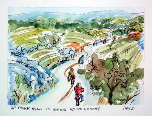 Biking up Chalk Hill
